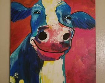 Colorful cow painting 16x20