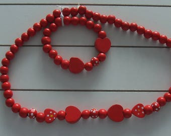 Childrens Red Heart Wooden Necklace and Bracelet Set