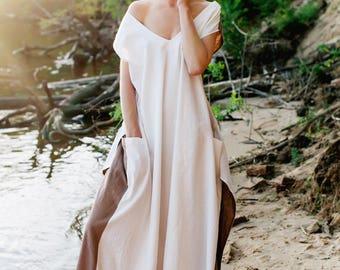 Linen dress Satya, Beige maxi dress, dress-meditation, long dress, oversize dress, boho dress