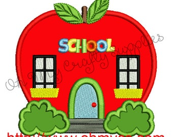 Apple School Applique Embroidery Design