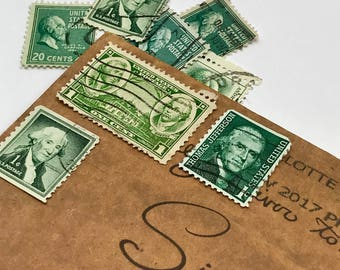 8 used vintage American History President vintage postage stamps | Perfect for scrapbooking, stamp collecting, snail mail art, and crafting
