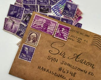 35 used vintage Assorted Purple vintage postage stamps | Perfect for scrapbooking, stamp collecting, snail mail art, and crafting