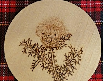 Luxury Scottish Thistle Art Wooden Coaster