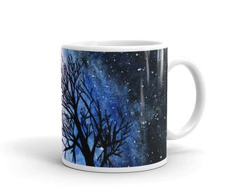 Night tree landscape original unique watercolor painting white glossy mug