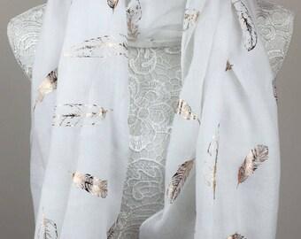 Feather Metallic Print Scarf - White