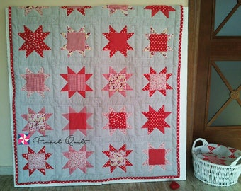 Baby Play mat, baby patchwork quilt, red baby blanket, Christmas gift, Baby shower gift, star quilt, nursery blanket, Christmas patchwork