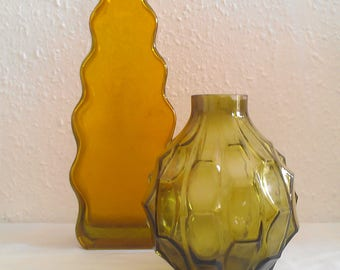 1970's RETRO Mid century Glass Vase SET