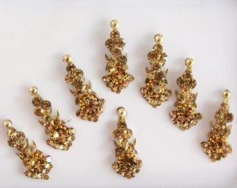 8 Gold/Silver Face Bindi Stickers,Bridal Bindis Sticker,Stone Bindis,Gold Bindi Headpiece,Antique Wedding Bindis,Self Adhesive Stickers