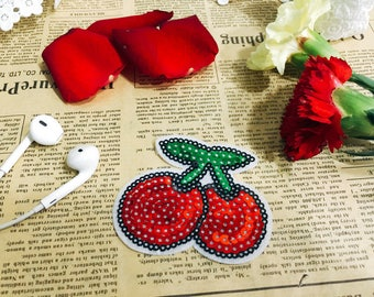Cherry sequin patch/fruit patch/cute patch/jacket patch/iron on patch/iron on hats bags jeans/DIY