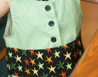 Baby Dress, Hand Sewn, Size 1 Year, Green, Black, Cotton, Machine Wash, Summer Dress, Gift Idea, Girls Clothing, Star Print, Handmade