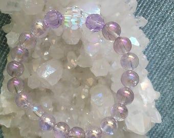 Into the Mystic purple aura Crystal quartz and aurora borealis swarovski crystal bracelet