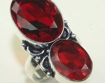Silver and Garnet ring size 54