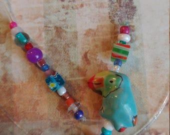 Bookmark. Book thong. Beaded. Handmade. Blue. Green. Multi-color.