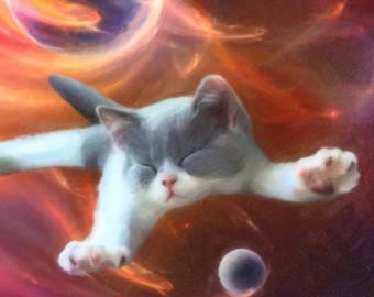 custom pet portrait. Your cat in the outer space.