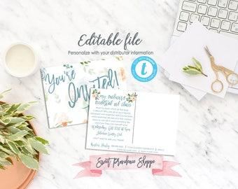 Essential Oil Class Invitation, Network Marketing Class Invite, Personalized Invite, Floral Watercolor, Templett, EDITABLE, Instant Download