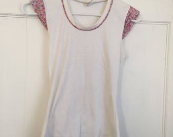 70s Floral Cap Sleeve Baby Tee by Marcia Originals Size XS / Small