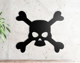 "Skull Metal Wall Sign Art, Home Decor Gift 18""x15.5"" Wood,vein,color options"