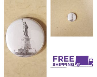 """1"""" Statue of Liberty Button Pin or Magnet, FREE SHIPPING & Coupon Codes"""