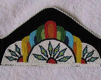 Sioux Indian Formal Pow Wow Event Tiara Style Beaded Headband Native American Bead Beadwork Free Shipping