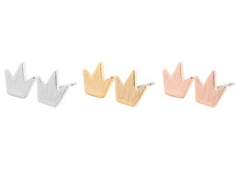 24/7 Jewelry Collection Crown earrings-Crown-studs earrings-brushed-Minimalist-Silver-Gold-rose gold