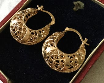 best price - VINTAGE FILIGREE EARRINGS - goldtone - Great effect-Very Nice Filigree