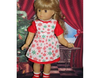 "Gotz doll not included. Christmas Snowflake. Clothes for 18"" dolls. Red Christmas Dress & Snowflake Apron. Girl Christmas Gift. Toy"