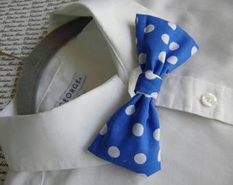 Skinny Blue Polka Dots Bowtie