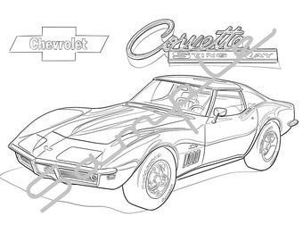 1970 chevrolet corvette stingray adult coloring page printable coloring page coloring page for - Stingray Coloring Pages Printable