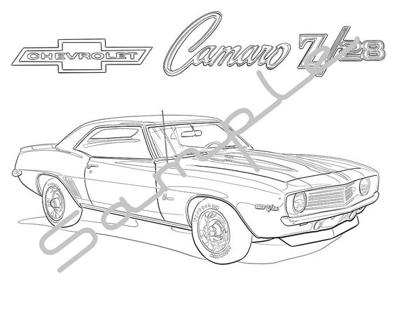 1969 chevy camaro z28 adult coloring page printable coloring