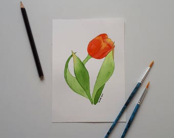 Tulip, watercolor flower painting 10 x 15
