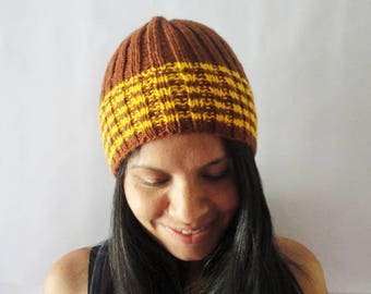Brown Knit Hat, Hand Knit Slim Hat, Slouchy Beanie Brown Color, Cute Women Knit Beanie, Knit Hat, Beanie, Rib Cap, Gifts For Her