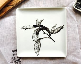 """Small porcelain square plate handpainted, original drawing titled """"Fishing in detail"""""""