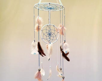 Large bouble handmade dream catcher with glitter dipped feathers