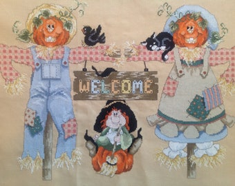 Cross Stitch Finished, Halloween, Pumpkins, Welcome