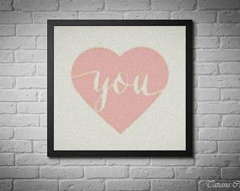 Heart cross stitch pattern, Valentine's Day cross stitch, I love you, pink heart, modern cross stitch pattern, pdf instant download. #024
