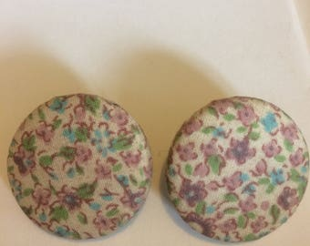 Large chintz fabric clip on earrings