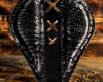 Handmade Bobber Seat Custom Black Alligator