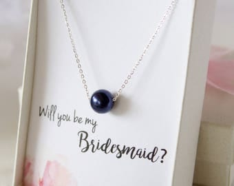 Bridal Party Gifts//Gold Dark Blue Pearl Necklace//Bridesmaid necklace//Gift for Bride//Wedding Jewelry//Gift for Mom//Bridal Gift//Everyday