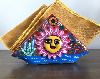 Mexican Hand Painted Napkin Holder | Handmade | Sun and Moon | Bohemian Decor