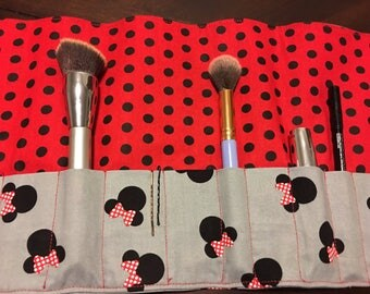 Homemade Disney Minnie Mouse  Makeup Brush Roll