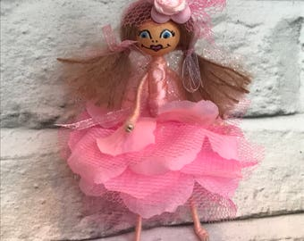 Pink Flower Fairy Bendy Doll