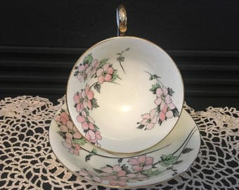 Vintage Tea cup and Saucer- Radfords Fenton Bone China- 7130 Gold Trim. Dogwood Flowers