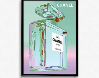 Chanel bottle green canvas art print poster