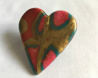 Polymer clay pin with locking pin back