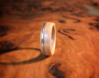 European Birch and sterling silver - handcrafted ring
