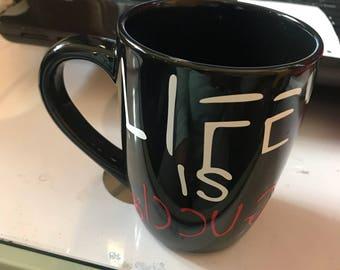 Life is gucci, life is gucci mug, mug, designer mug, 12oz mug, gucci mug, coffee mug, coffee cup, black mug, ceramic mug