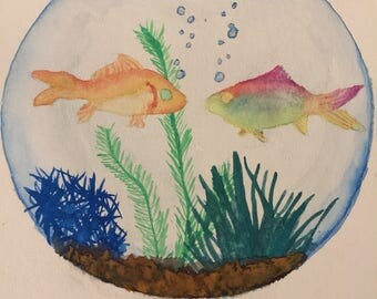 2 Fish + Fishbowl Watercolor Painting