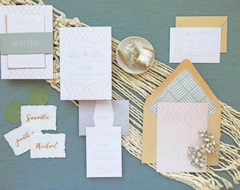 SUNSET SUITE - Boho Wedding Invitations, Geometric Wedding, Bohemian Wedding, Modern Wedding