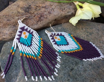 "Seed Bead Earrings ""Purple"""