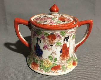 Vintage Nippon Japanese Geisha Porcelain Hand Painted Sugar Bowl Container